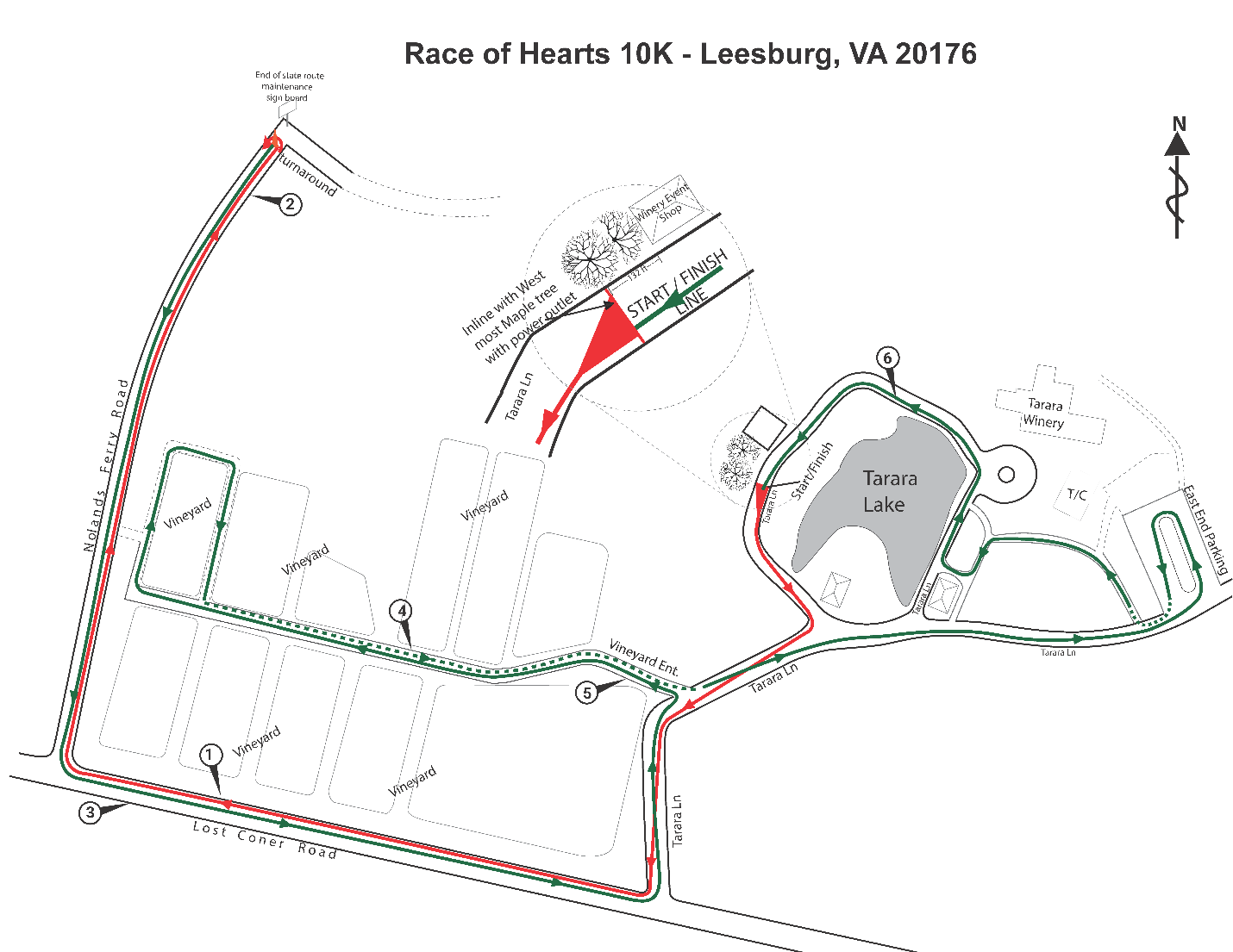 Tarara 10K Race Course Map